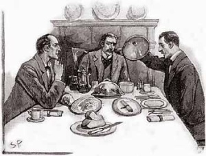 Sherlock Holmes, Dr John Watson and client Percy Phelps in Sidney Paget's illustration for The Naval Treaty